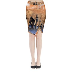 Elephants Animal Art Abstract Midi Wrap Pencil Skirt