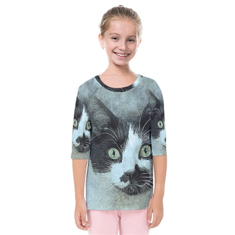 Cat Pet Art Abstract Vintage Kids  Quarter Sleeve Raglan Tee by Celenk