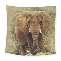 Elephant Animal Art Abstract Square Tapestry (large)