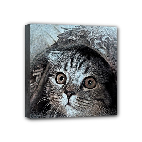 Cat Pet Art Abstract Vintage Mini Canvas 4  X 4  by Celenk