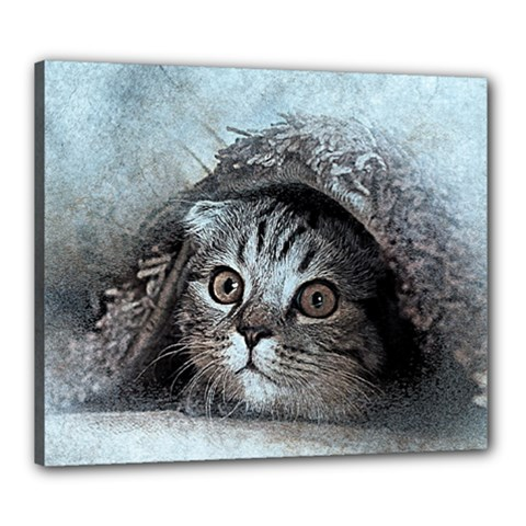 Cat Pet Art Abstract Vintage Canvas 24  X 20  by Celenk