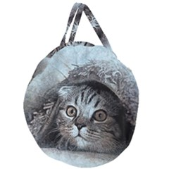 Cat Pet Art Abstract Vintage Giant Round Zipper Tote