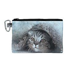 Cat Pet Art Abstract Vintage Canvas Cosmetic Bag (medium) by Celenk