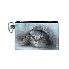Cat Pet Art Abstract Vintage Canvas Cosmetic Bag (small) by Celenk