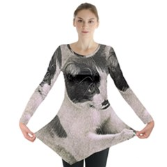Cat Pet Art Abstract Vintage Long Sleeve Tunic