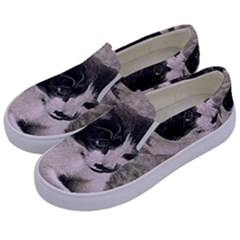 Cat Pet Art Abstract Vintage Kids  Canvas Slip Ons by Celenk
