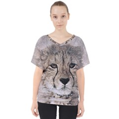 Leopard Art Abstract Vintage Baby V Neck Dolman Drape Top by Celenk