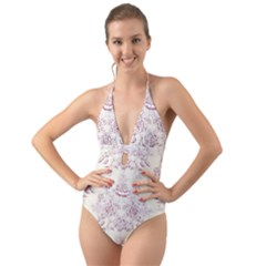 French Chic Halter Cut Out One Piece Swimsuit by 8fugoso