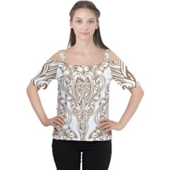 Beautiful Gold Floral Pattern Cutout Shoulder Tee by 8fugoso