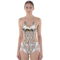Beautiful Gold Floral Pattern Cut Out One Piece Swimsuit by 8fugoso