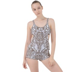 Beautiful Gold Floral Pattern Boyleg Tankini Set  by 8fugoso