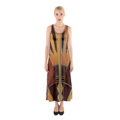 Art Deco Gold Sleeveless Maxi Dress by 8fugoso