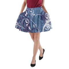 Mystic Blue Flower A Line Pocket Skirt by Cveti