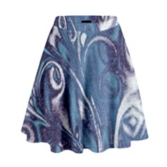 Mystic Blue Flower High Waist Skirt by Cveti