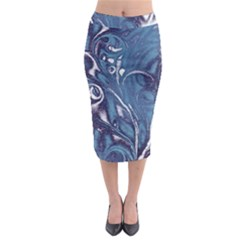 Mystic Blue Flower Midi Pencil Skirt by Cveti