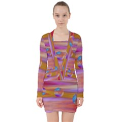 Space World Pattern V Neck Bodycon Long Sleeve Dress