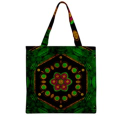 Magic Of Life A Orchid Mandala So Bright Grocery Tote Bag by pepitasart