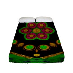 Magic Of Life A Orchid Mandala So Bright Fitted Sheet (full/ Double Size) by pepitasart