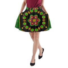 Magic Of Life A Orchid Mandala So Bright A Line Pocket Skirt by pepitasart