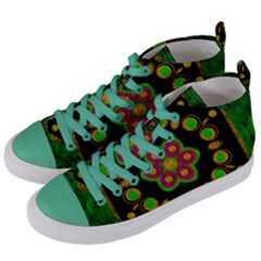 Magic Of Life A Orchid Mandala So Bright Women s Mid Top Canvas Sneakers by pepitasart