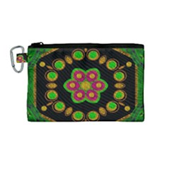 Magic Of Life A Orchid Mandala So Bright Canvas Cosmetic Bag (medium) by pepitasart
