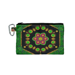 Magic Of Life A Orchid Mandala So Bright Canvas Cosmetic Bag (small) by pepitasart