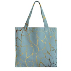 Mint,gold,marble,pattern Grocery Tote Bag by 8fugoso