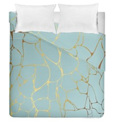 Mint,gold,marble,pattern Duvet Cover Double Side (queen Size) by 8fugoso