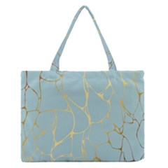 Mint,gold,marble,pattern Zipper Medium Tote Bag by 8fugoso