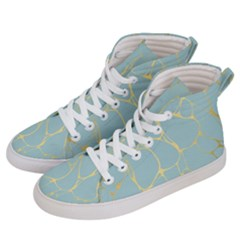 Mint,gold,marble,pattern Women s Hi Top Skate Sneakers by 8fugoso