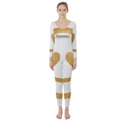 Gold Smiley Face Long Sleeve Catsuit by 8fugoso
