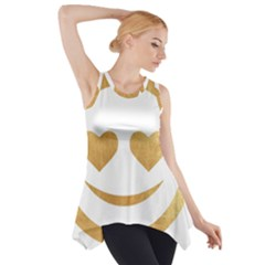 Gold Smiley Face Side Drop Tank Tunic by 8fugoso