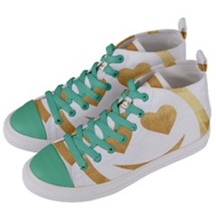 Gold Smiley Face Women s Mid Top Canvas Sneakers by 8fugoso