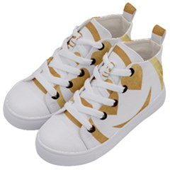 Gold Smiley Face Kid s Mid Top Canvas Sneakers by 8fugoso