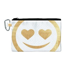 Gold Smiley Face Canvas Cosmetic Bag (medium) by 8fugoso