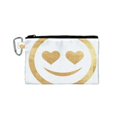 Gold Smiley Face Canvas Cosmetic Bag (small) by 8fugoso