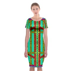 Gift Wrappers For Body And Soul In  A Rainbow Mind Classic Short Sleeve Midi Dress by pepitasart