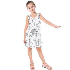 Set Chalk Out Scribble Collection Kids  Sleeveless Dress by Celenk