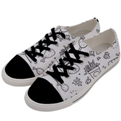 Set Chalk Out Scribble Collection Men s Low Top Canvas Sneakers by Celenk
