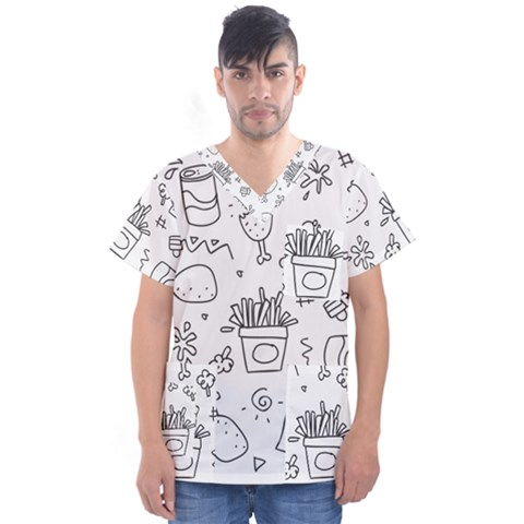 Set Chalk Out Scribble Collection Men s V-neck Scrub Top by Celenk
