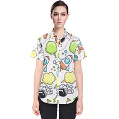Sketch Set Cute Collection Child Women s Short Sleeve Shirt by Celenk