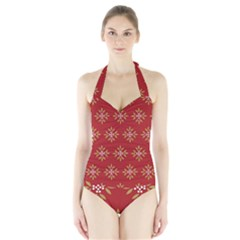 Pattern Background Holiday Halter Swimsuit