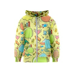 Cute Sketch Child Graphic Funny Kids  Zipper Hoodie by Celenk