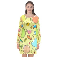 Cute Sketch Child Graphic Funny Long Sleeve Chiffon Shift Dress  by Celenk
