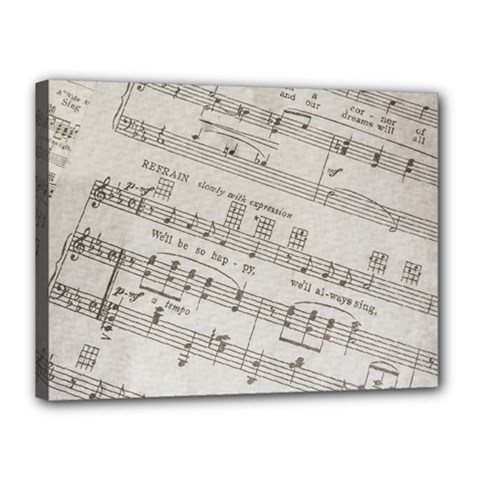 Sheet Music Paper Notes Antique Canvas 16  X 12