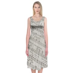 Sheet Music Paper Notes Antique Midi Sleeveless Dress by Celenk