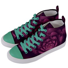 Fractal Blossom Flower Bloom Women s Mid Top Canvas Sneakers by Celenk