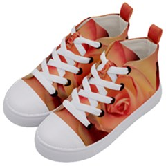 Rose Orange Rose Blossom Bloom Kid s Mid Top Canvas Sneakers by Celenk