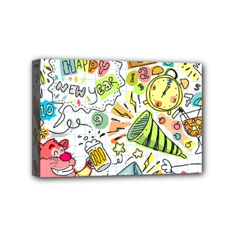 Doodle New Year Party Celebration Mini Canvas 6  X 4