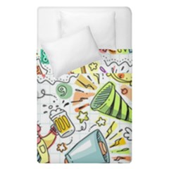 Doodle New Year Party Celebration Duvet Cover Double Side (single Size)